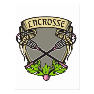 Crossed Lacrosse Stick Coat of Arms Crest Woodcut Postcard