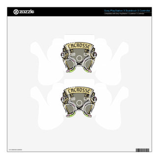 Crossed Lacrosse Stick Coat of Arms Crest Woodcut PS3 Controller Decal