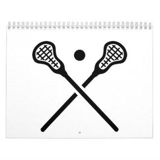 Crossed lacrosse sticks ball calendar