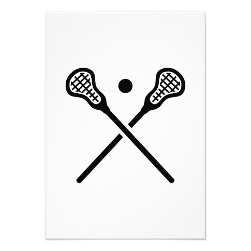 Crossed lacrosse sticks ball personalized announcements
