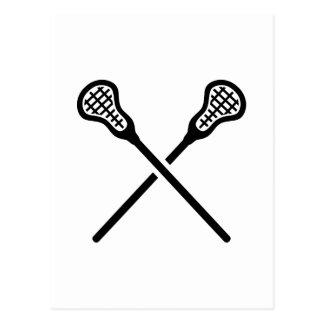 Crossed lacrosse sticks postcard