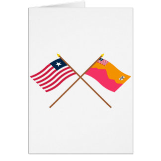 Crossed Liberia and Bong County Flags Card