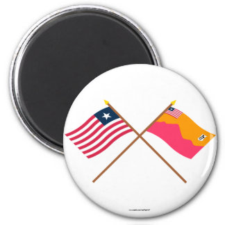 Crossed Liberia and Bong County Flags Fridge Magnet