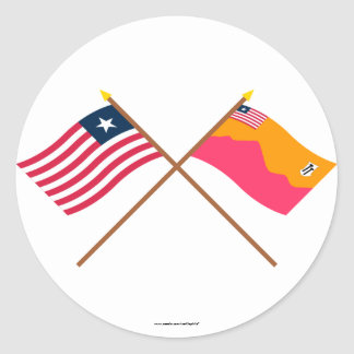 Crossed Liberia and Bong County Flags Round Sticker