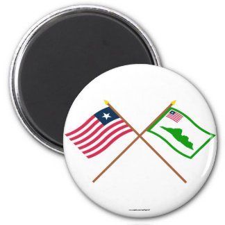 Crossed Liberia and Grand Cape Mount County Flags 2 Inch Round Magnet