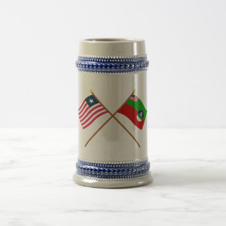 Crossed Liberia and Margibi County Flags Beer Stein