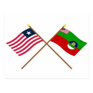 Crossed Liberia and Margibi County Flags Postcard