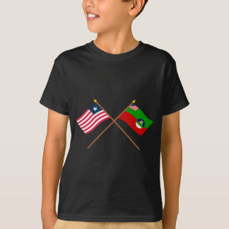 Crossed Liberia and Margibi County Flags T-Shirt