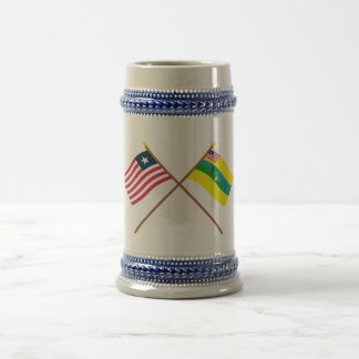 Crossed Liberia and Maryland County Flags 18 Oz Beer Stein