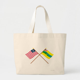 Crossed Liberia and Maryland County Flags Tote Bags