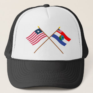 Crossed Liberia and Nimba County Flags Trucker Hat