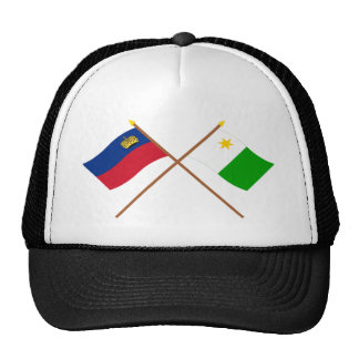 Crossed Liechtenstein and Planken Flags Trucker Hat