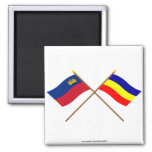 Crossed Liechtenstein and Ruggell Flags 2 Inch Square Magnet