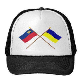 Crossed Liechtenstein and Triesenberg Flags Hats