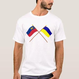 Crossed Liechtenstein and Triesenberg Flags T-Shirt