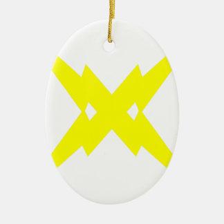 Crossed Lightning Ceramic Ornament