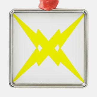 Crossed Lightning Metal Ornament