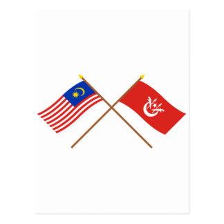 Crossed Malaysia and Kelantan flags Postcard
