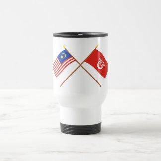 Crossed Malaysia and Kelantan flags Travel Mug