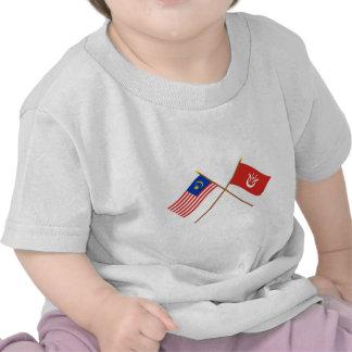 Crossed Malaysia and Kelantan flags T Shirt