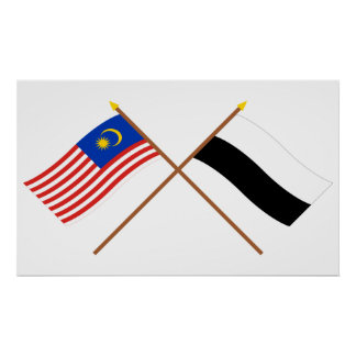 Crossed Malaysia and Pahang flags Poster