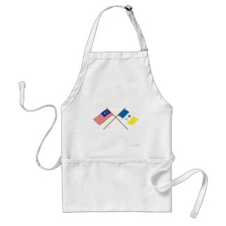 Crossed Malaysia and Penang flags Adult Apron