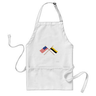Crossed Malaysia and Perak flags Adult Apron