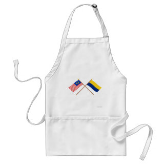 Crossed Malaysia and Perlis flags Adult Apron