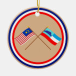 Crossed Malaysia and Sabah flags Christmas Tree Ornament