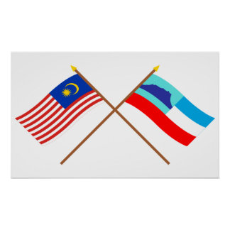 Crossed Malaysia and Sabah flags Poster