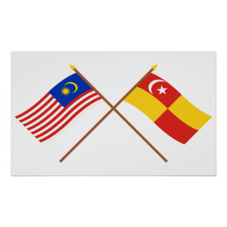 Crossed Malaysia and Selangor flags Poster