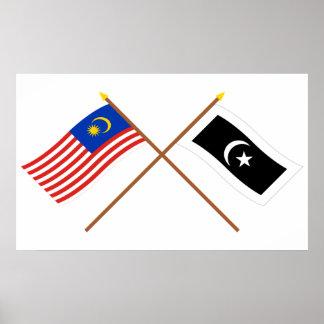 Crossed Malaysia and Terengganu flags Poster