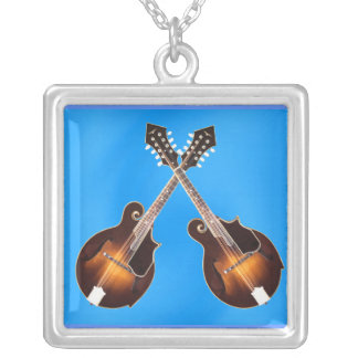 CROSSED MANDOLINS-NECKLACE-ON BLUE SILVER PLATED NECKLACE