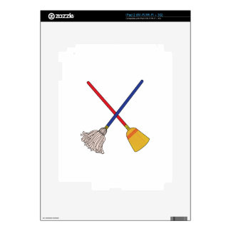 Crossed Mop & Broom Decals For The iPad 2