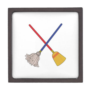 Crossed Mop & Broom Gift Box