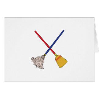 Crossed Mop & Broom Greeting Card