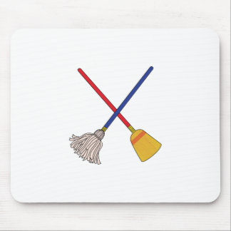 Crossed Mop & Broom Mouse Pad