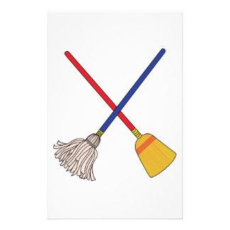 Crossed Mop & Broom Stationery