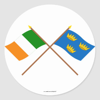 Crossed Munster Province Flags Classic Round Sticker