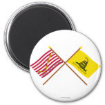 Crossed Navy Jack and Gadsden Flag 2 Inch Round Magnet