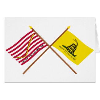 Crossed Navy Jack and Gadsden Flag Card