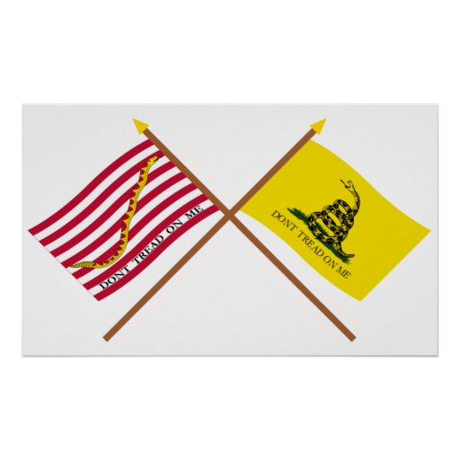 Crossed Navy Jack and Gadsden Flag Posters