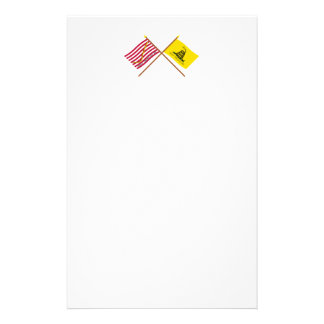 Crossed Navy Jack and Gadsden Flag Stationery