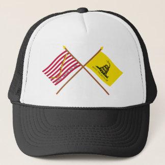 Crossed Navy Jack and Gadsden Flag Trucker Hat