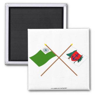 Crossed Newburyport Flags 2 Inch Square Magnet