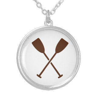 Crossed paddles oars silver plated necklace