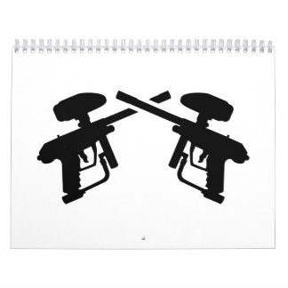 Crossed paintball weapon calendar