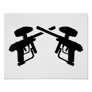 Crossed paintball weapon poster