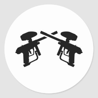 Crossed paintball weapon round sticker