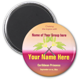 Crossed Palms Personalized 2 Inch Round Magnet